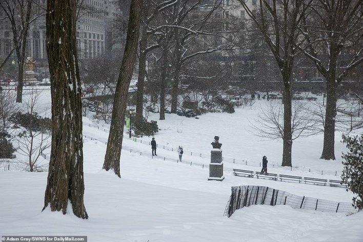 MANHATTAN, NEW YORK: Snowfall in Central Park, Manhattan, as Winter Storm Viola hit the area on Thursday