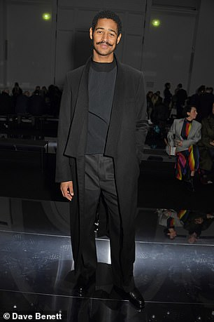 Alfred Enoch attends the Dunhill Menswear Fall/Winter 2020-2021 show as part of Paris Fashion Week on January 19, 2020
