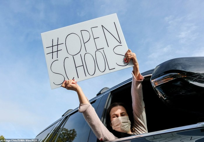 Makary pointed to 'overly burdensome recommendations' which 'defy science' to create what he argues are 'testing and distancing requirements so extreme it makes consistent in-person learning unachievable for the vast majority of schools in America today'. Students and parents holding placards during a car rally to encourage Los Angeles County to reopen schools