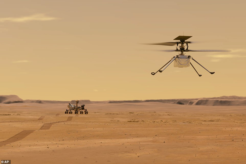 The first act of Perseverance — which has been based on the blueprint of Curiosity and is the seven feet tall, nine feet wide and weighs 2,260 pounds — will be to release its accompanying Ingenuity helicopter (pictured). The copter will fly at an altitude that is similar to 100,000 feet on Earth, allowing it to gather geological data in areas the rover is unable to reach