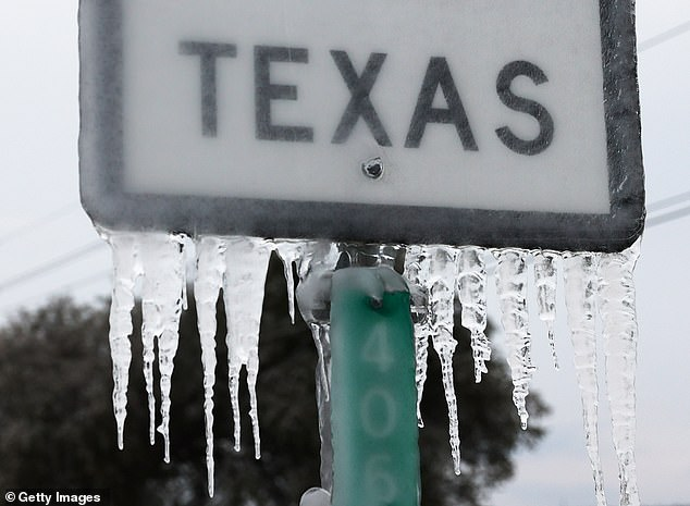 The storm caused icicles to form on the State Highway 195 sign in Killeen Thursday while thousands are still without power