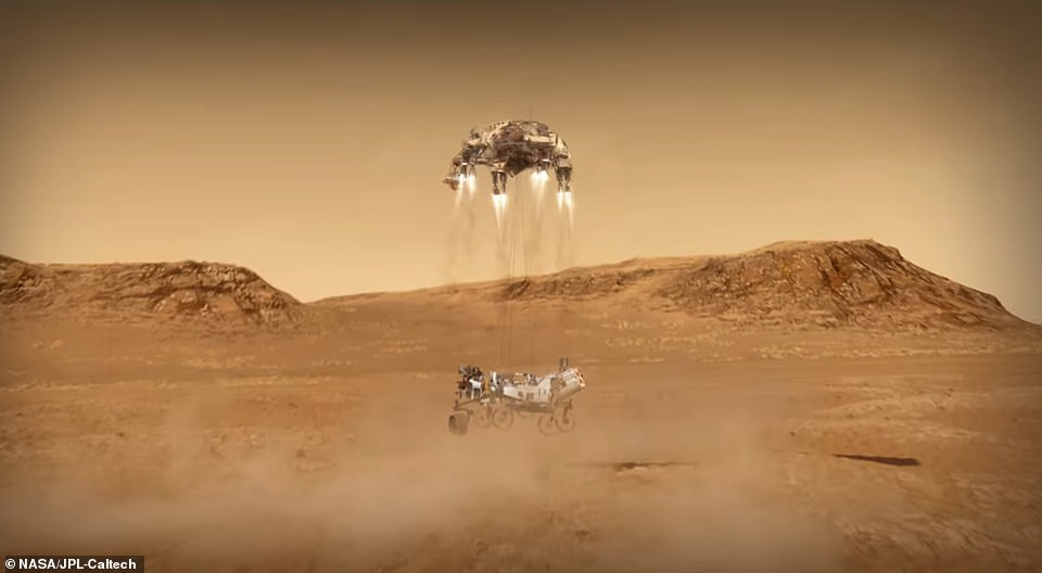 The final stage of the landing saw the rocket-powered craft carry out the same maneuver as Curiosity in 2012 using the sky crane.Nylon cords lowered Perseverance 25 feet below and after it touched down on the Martian surface, the cords detached and the sky crane flew away