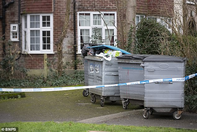 Two suspects aged 29 and 37 have been arrested. Pictured: A police cordon at the scene
