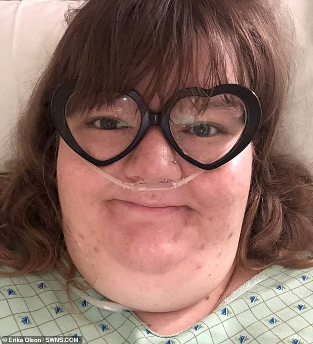 In August of 2018, Erika received gastric bypass surgery in order to shrink her stomach. She is pictured in hospital
