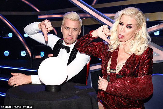 Oh dear: Denise Van Outen (pictured with Matt Evers last month) was forced to drop out too, after she dislocated her shoulder and Billie Faiers was forced to quit after hitting her head