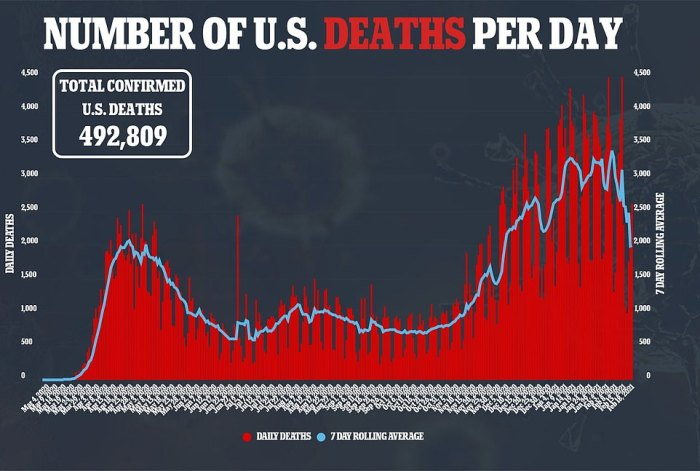 Deaths ticked up slightly the past two days, with about 2,558 reported in the US on Thursday, but the daily average is now hovering around 2,000