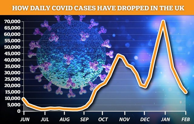 But separate data from the ZOE Covid Symptom Study app suggested cases have plateaued. It said there were 14,064 new infections a day in the UK in the second week of February, a drop of just five per cent compared to the last seven-day spell