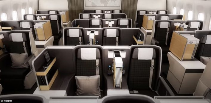 A return business class ticket from London to Hong Kong, with a stopover in Zurich, aboard Swiss in December is currently £1,549 - down from £2,050. Above are the business class seats onboard a Swiss Boeing 777 - which is used by the carrier on the Zurich to Hong Kong leg of the journey