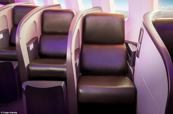 On selected dates in 2021 and 2022, you can fly business class on Virgin Atlantic from London to Barbados for £1,499 return - a saving of £701. Pictured is the business class cabin you could be relaxing in onboard a Virgin Atlantic Boeing 787, which flies on this route