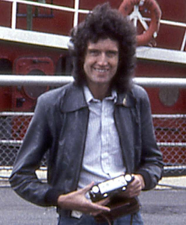 Brian with Stereo Realist (3-D) camera in hand, 1978. He said: 'The fascination for stereo that I'd picked up as a kid never went away. I bought my first 35 mm film stereo camera in 1974, on our first Queen tour of the United States'