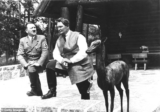 Goering (right) was the head of the Luftwaffe, below only Adolf Hitler (left) in the hierarchy of the Third Reich.
