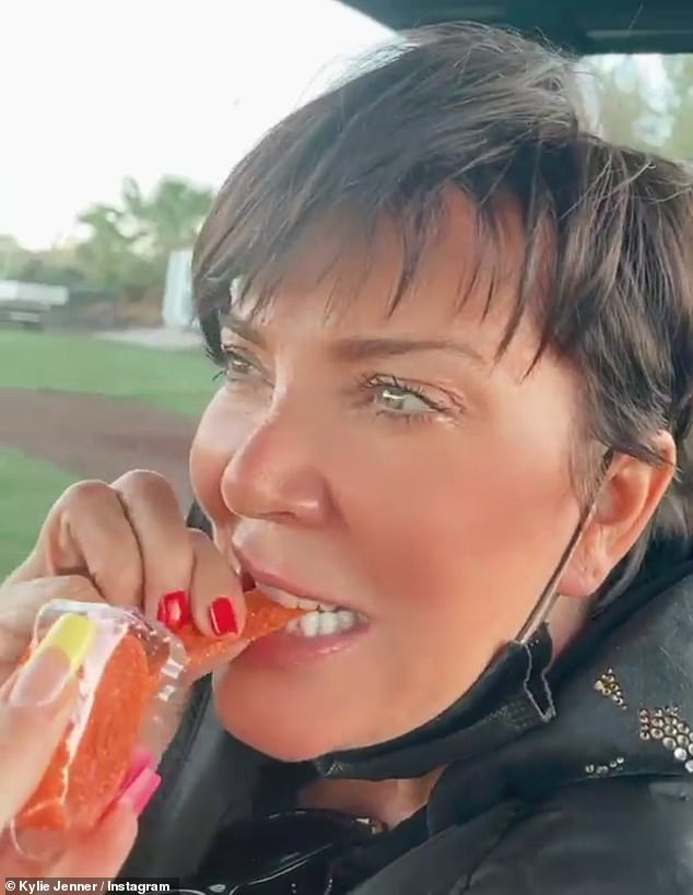 Sweet tooth: She previously posted a video of mom Kris Jenner, 65, trying a spicy fruit candy called Rip Rolls from the back of a golf cart