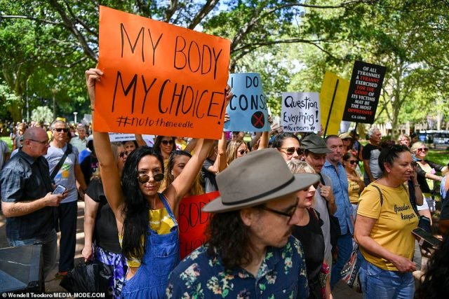 Hundreds joined the Millions March Against Mandatory COVID Vaccinations in Sydney's Hyde Park (pictured) and Melbourne's Fawkner Park in South Yarra on Saturday
