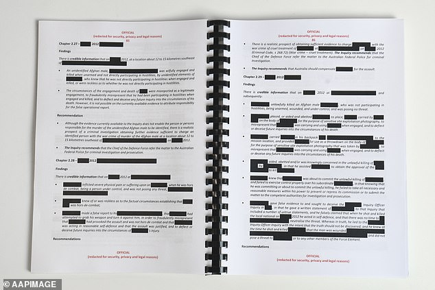 The report stated some 25 Australians were involved in the killings - including some who were still serving when the redacted report was released to the public in November 2020