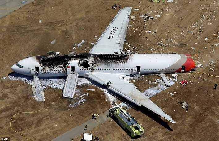 The wreckage of Asiana Flight 214 lies on the ground after it crashed at the San Francisco International Airport in San Francisco in this July 6, 2013 aerial photo