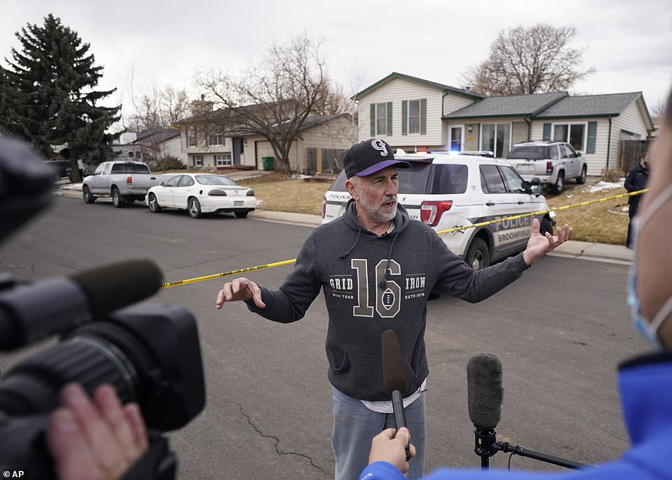 Kirby Klements talks about a piece of debris that crushed his pickup truck parked next to his home in Broomfield