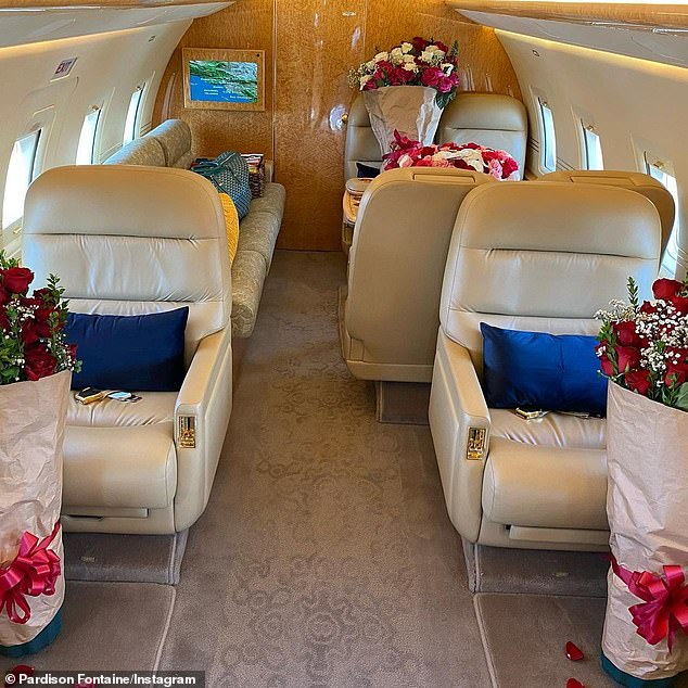 Laying it on heavy: The rapper surprised his lady with lunch and a private jet loaded up with gorgeous floral arrangements