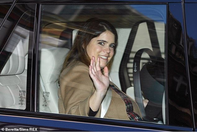 Princess Eugenie is 'doing really well' after giving birth to her baby boy 'via C-section due to her previous spinal surgery for scoliosis', a royal source told People magazine (pictured leaving hospital last week)