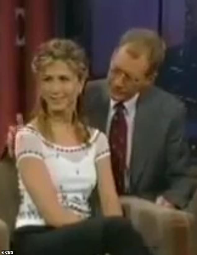 She's hating it!Letterman is 21 years Aniston's senior