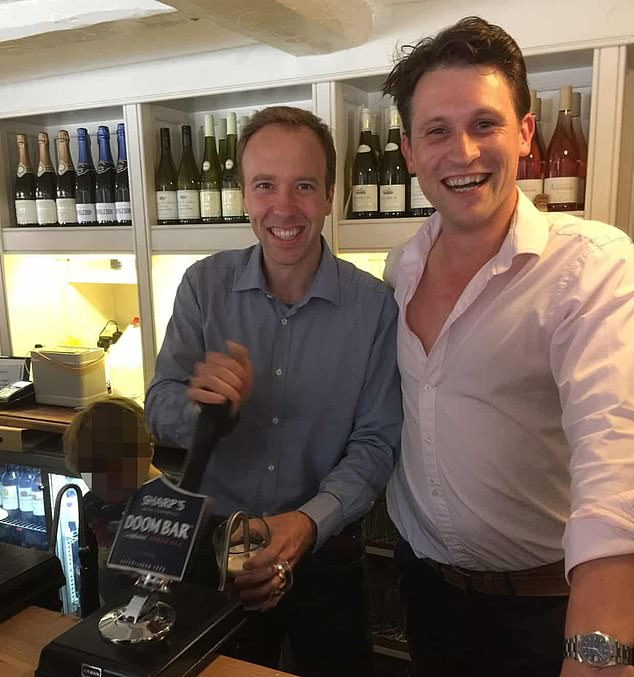 Alex Bourne (pictured together Matt Hancock) supplied tens of millions of Covid tests through his company Hinpack after exchanging a Whatsapp messages with the Health Secretary