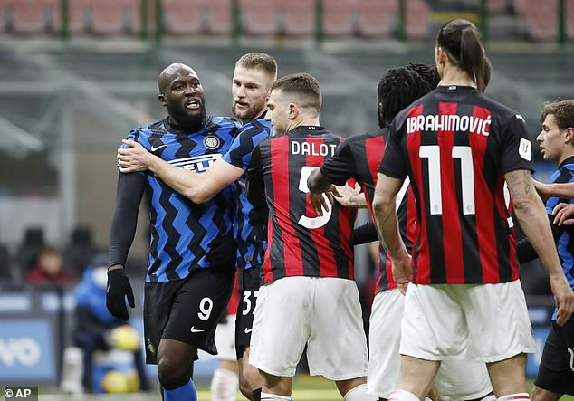 The pair had to be restrained the Milan Derby quarter-final clash on January 26 at the San Siro