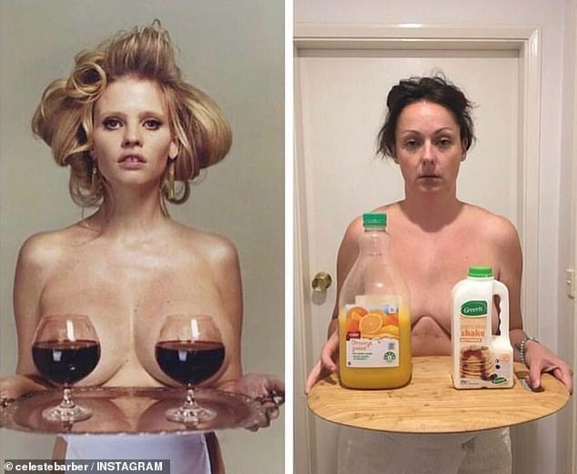 'Buy what you're selling Celeste': Celeste, 38, said she has to remind herself sometimes that the central message of her comedy is body positivity. Shown here parodying Lara Stone