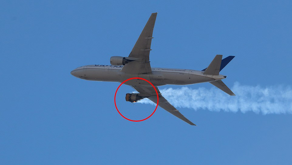 United Airlines said late Sunday it will immediately halt all flights by its fleet of 24 Boeing 777 airplanes with the same type of engine involved in Saturday's emergency landing in Denver. Pictures taken from the ground show the jet's engine on fire and trailing smoke on Saturday