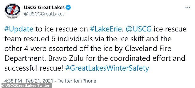 The U.S. Coast Guard tweeted as the rescue was underway and at its conclusion