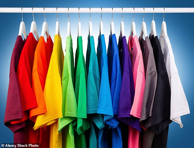 I like to hang up my clothes by colour. So instead of grouping together dresses, shirts, whatever, everything is organised by shade: white, black, pink