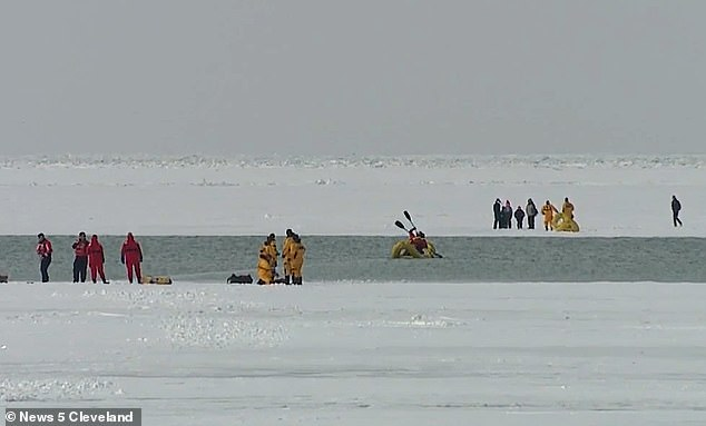 News footage captures the rescue underway on Sunday afternoon