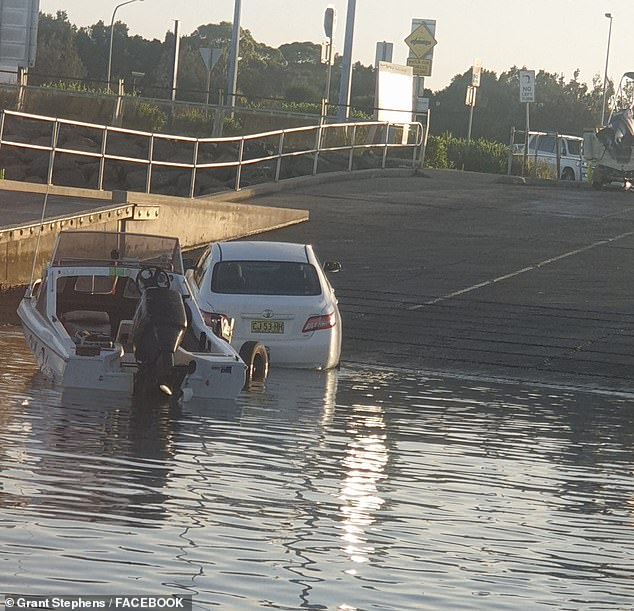 The notoriously slippery boat ramp has caused other vehicles to enter the water at Botany Bay