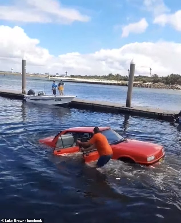 The rope pulling the Falcon to safety can be heard snapping, causing the vehicle to slide backwards and re-enter the water