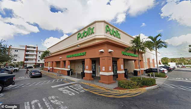 The incident occurred at the Publix store (pictured) at 155 East Second Ave. Police said Wright and the man were in line waiting to pay when he asked her to maintain a six-foot distance. Police said that enraged her to the point of her allegedly attacking him outside of the store