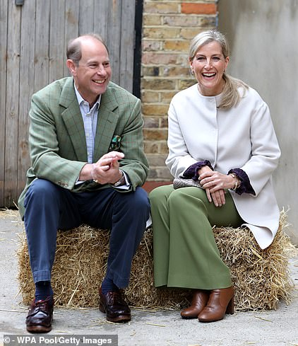 Branded the 'magnificent seven' by palace officials, the current working senior royals including Prince Edward and Sophie Wessex, pictured visiting a London farm last year, to begin engagements as soon as possible