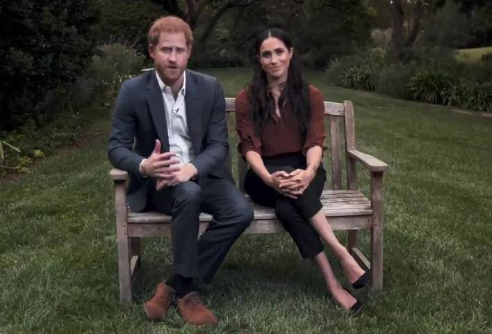 Prince Harry and Meghan Markle's controversial interview with Oprah Winfey was filmed at their LA mansion (pictured) just hours before the couple issued a parting shot after being stripped of roles and patronages by the Queen, meaning parts may need to be re-shot or edited