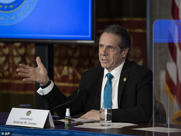 New York governor Andrew Cuomo, pictured at the state capitol on Friday, announced that a resident of Long Island had tested positive for the South African virus strain