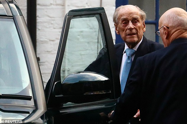 Prince Philip get into a car as he leaves King Edward VII Hospital in London during a previous visit in December 2019