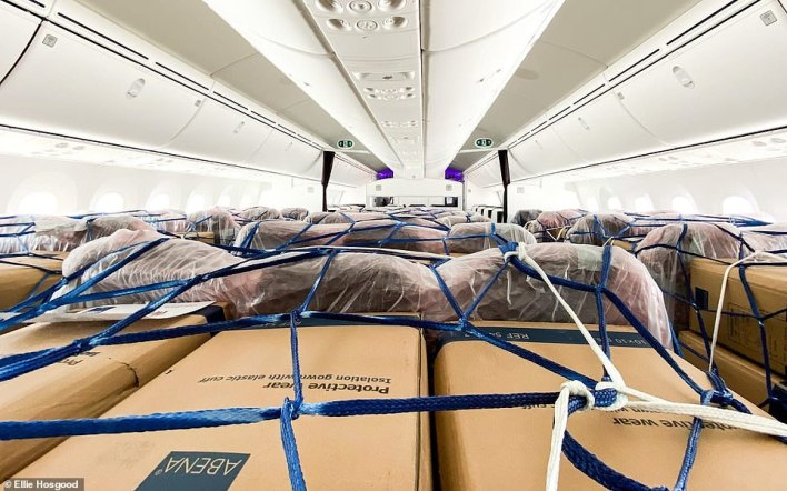 """'Some of our cargo journeys are now classed as """"ultra-long-haul"""", which means we fly to the other side of the world, pick up vital cargo and fly home again without getting off the plane,' said Ellie"""