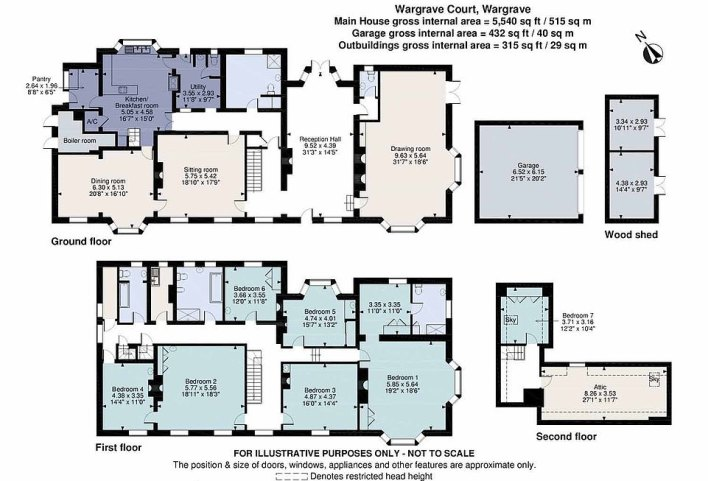 The property's floorplan, with the main house having a gross internal area of 5,540 sq ft, the garage having a gross internal area of 432 sq ft and the outbuildings having a gross internal area of 315 sq ft
