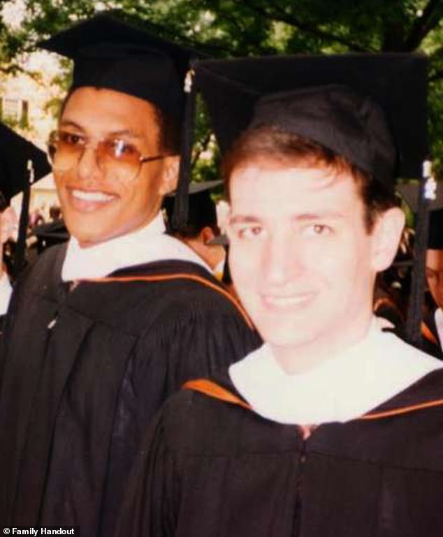 Ted Cruz and David Panton (pictured graduating from college). Cruz invited Panton to join him and his family in Cancun last week on an ill-fated trip during Texas's energy crisis that Cruz claims was orchestrated by his 10 and 12-year-old daughters