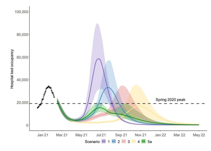 SAGE modelling presented to the Government found that one-on-one indoor mixing could be brought back at the end of March and the inevitable third wave still kept under control. Graph shows how all lockdown-lifting scenarios eventually lead to a third spike in the number of people in hospital – the green line appears to track closely to Mr Johnson's plan to lift lockdown, but factored in indoor mixing as soon as March 29. It brings forward the next spike in NHS pressure to the summer, when the NHS is less busy, instead of pushing it back to the winter.Modelling conducted by Imperial researchers