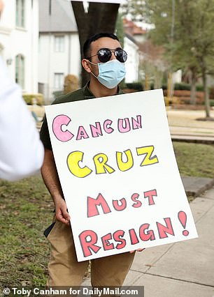 Protesters have given dubbed the Texas senator 'Cancun Cruz' after his brief trip to Mexico on Wednesday