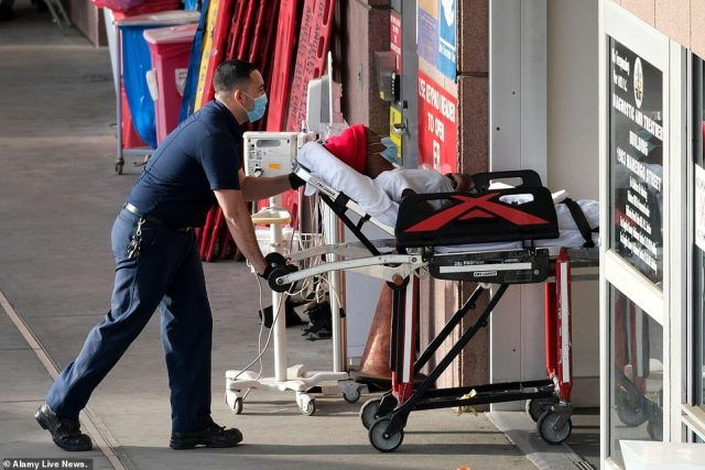 Dr Kobner's beautiful photos add weight and emotion to the devastation caused by the pandemic.A patient is pictured being transported from an ambulance at Los Angeles County USC Medical Center on January 7, 2021