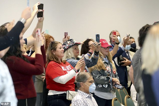 The mostly-maskless crowd at a Governor Ron DeSantis campaign event on Friday Feb 18 at the Hilton Airport Hotel in Palm Beach