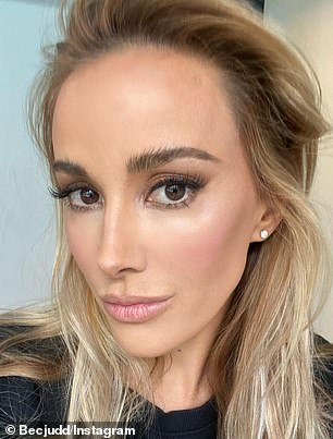 Copycat: Beck, a former WAG, appears to have modelled her entire look on Rebecca Judd (pictured), the wife of Carlton great Chris Judd