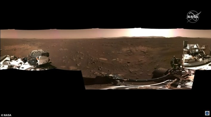 Also released Monday was the mission's first panorama of the rover's landing location, taken by the two Navigation Cameras located on its mast