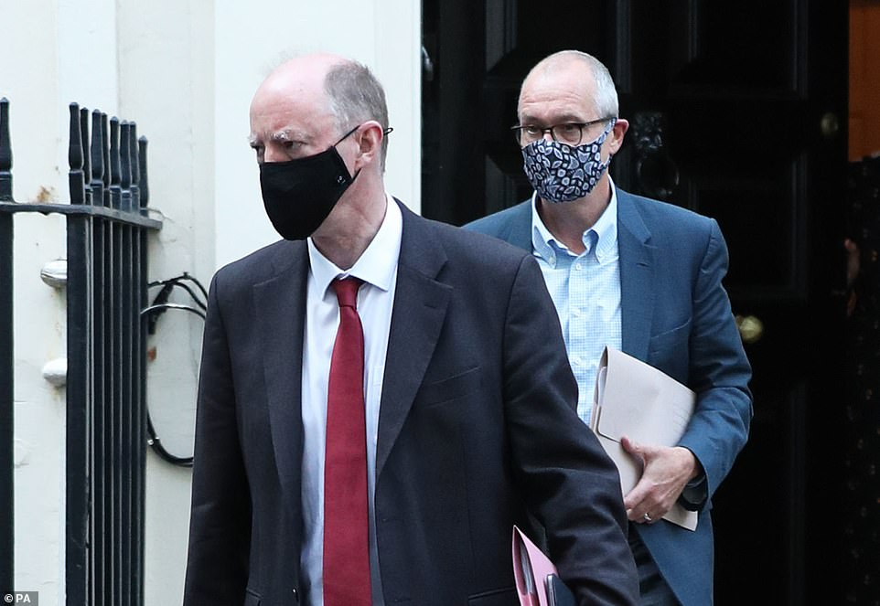 Moving too fast to lift lockdown would lead to a 'significantly higher' number of infections and a potential extra 90,000 deaths, government scientists warned. Pictured: Chris Whitty (left) and Sir Patrick Vallance (right) leave Downing Street
