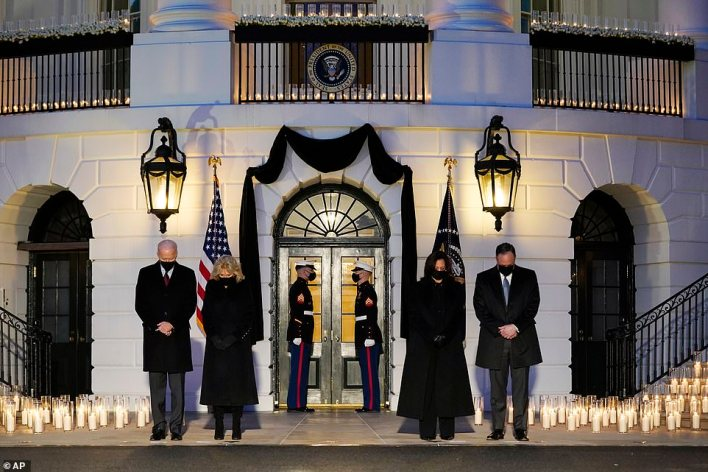 Memory: At sundown, Joe and Jill Biden and Kamala Harris and Doug Emhoff prayed on the South Portico of the White House for the more than 500,000 Americans who have died from COVID