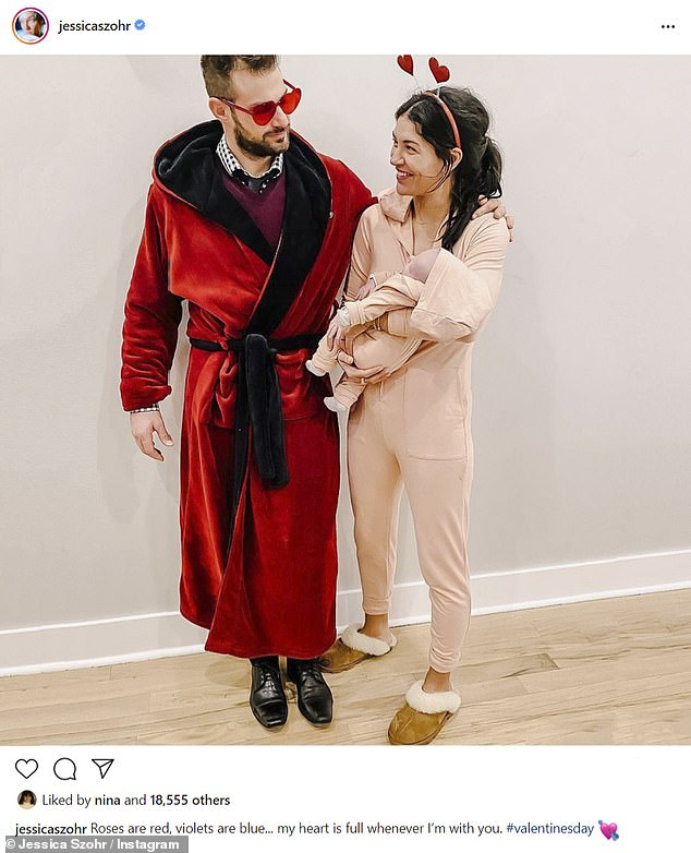 Parents: Szohr and her boyfriend, pro hockey player Brad Richardson, 36, welcomed a daughter they named Bowie Ella. They're pictured in a Valentine's Day Instagram snap