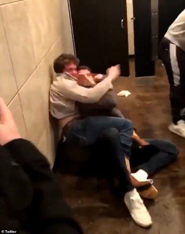 Brown used his experience in MMA to put Jones in a guillotine position on the bathroom floor.